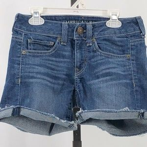 american eagle stretch cutoff jean shorts sz 0